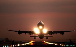 Plane landing at an airport